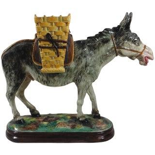 1900s Majolica Jerome Massier Fils Signed Donkey With Baskets