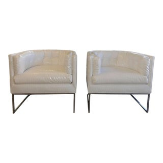 Mid-Century Modern Chromed Club Chairs With White Crock Embossed Faux Patent Leather - a Pair For Sale