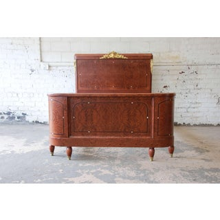 19th Century French Louis XVI Style Burl Wood Inlaid Mahogany Full Size Bed Preview