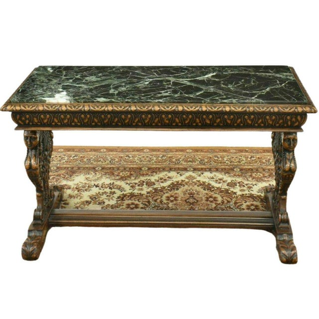 Stone Antique Renaissance Style Figured Carved Marble-Top Coffee Table For Sale - Image 7 of 7