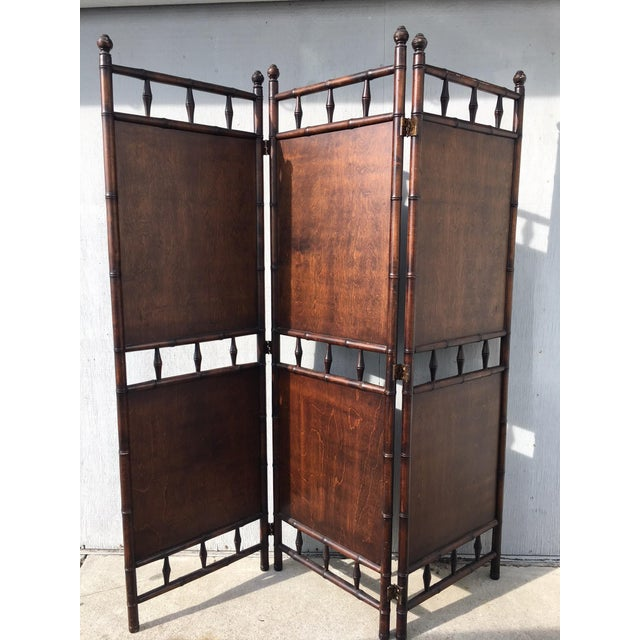 Mid 20th Century Arts and Crafts Victorian Faux Bamboo Tile Mosaic Room Divider Privacy Screen For Sale - Image 5 of 11
