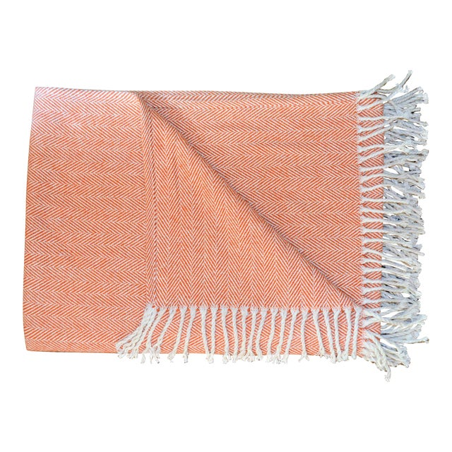 Italian Apricot and Cream Cotton Throw Blanket For Sale