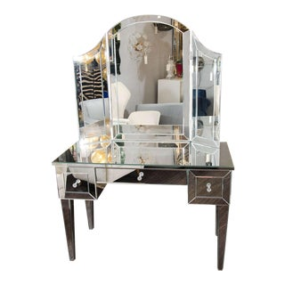 Custom Mirrored Vanity with Tryptic For Sale