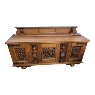 Traditional Village Scene Carved Sideboard For Sale