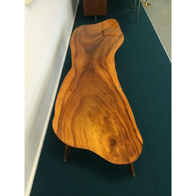 Large Vintage Monkey Pod Wood Slab Coffee Table - Image 6 of 7