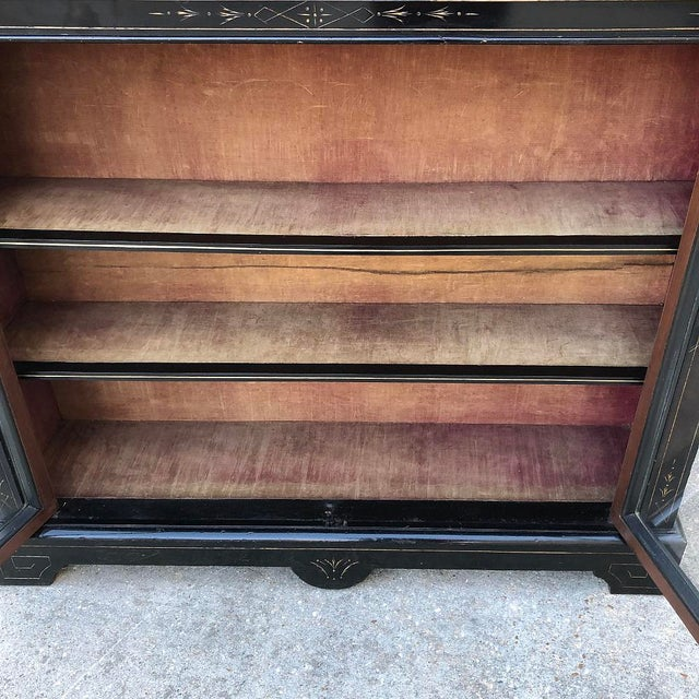 19th Century French Napoleon III Period Ebonized Barrister's Bookcase For Sale - Image 10 of 12