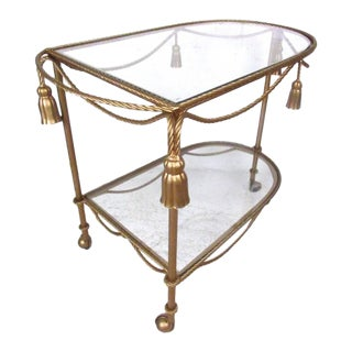 Italian Modern Gilt Tassel Serving Cart For Sale