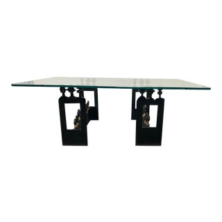 African Custom Design Hand Forged Iron Base + Glass Top Coffee Table For Sale