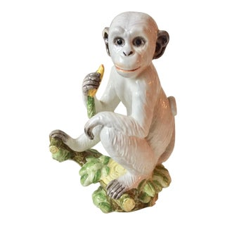 "Italian 10""Faience Blanc De Chine Monkey Statue For Sale"
