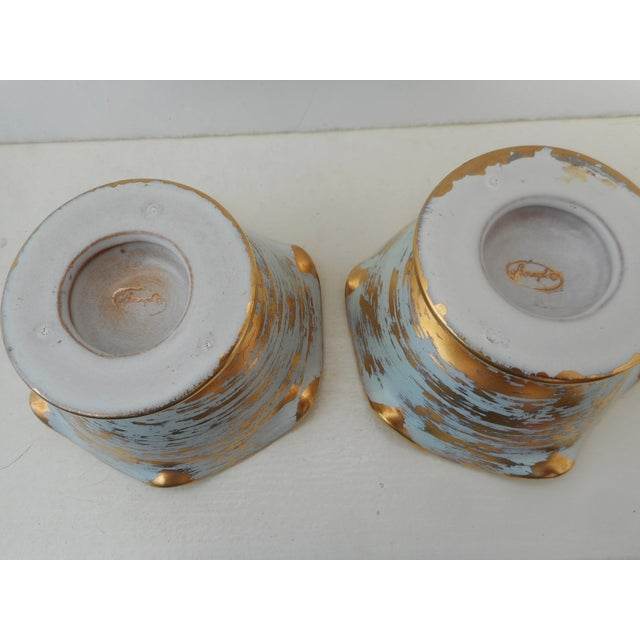 Blue And Gold Stangl Candleholders - Pair - Image 3 of 3