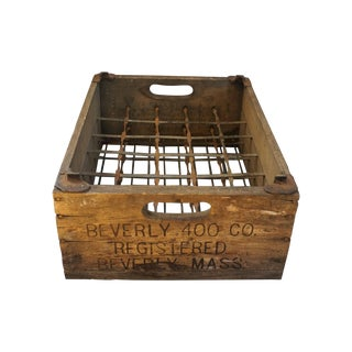 Vintage Rustic Wood Crate - Steel Wire Interior