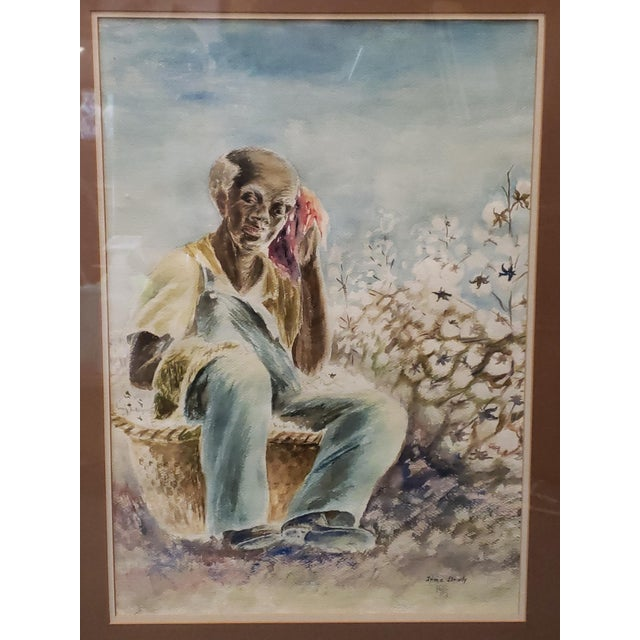 """Up for sale is a Vintage Black Man in Cotton Field Watercolor Painting by Irma Brady (20th Century)! It measures 33 3/4""""..."""