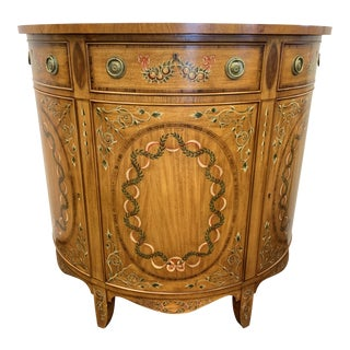 1990s French Hand Painted Demilune Inlay Cabinet For Sale