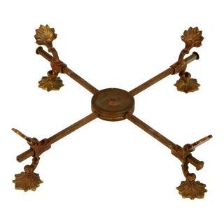 Antique Brass Adjustable Footed Trivet / Serving Hot Plate For Sale