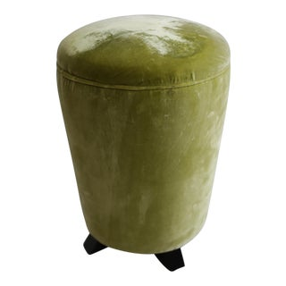 Small Round Velvet Footed Ottoman