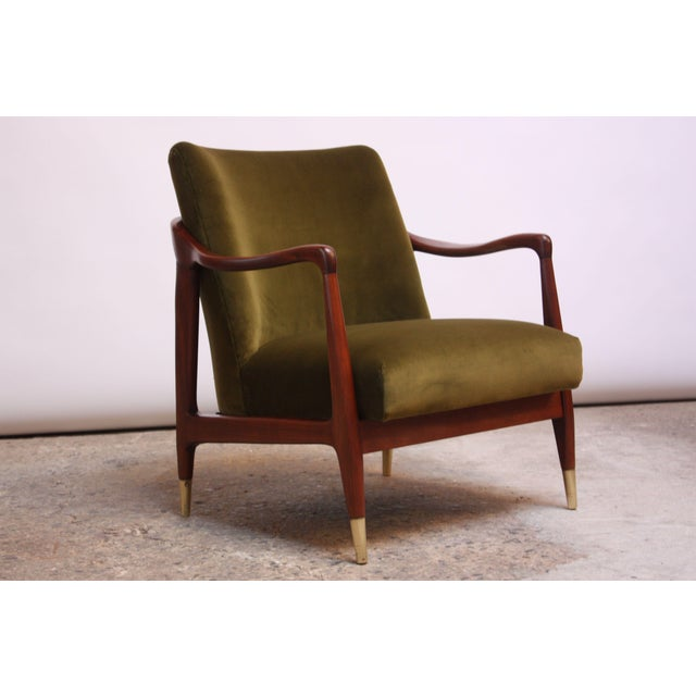 Mid-Century Italian Modern Sculpted Walnut and Velvet Lounge Chair For Sale - Image 13 of 13