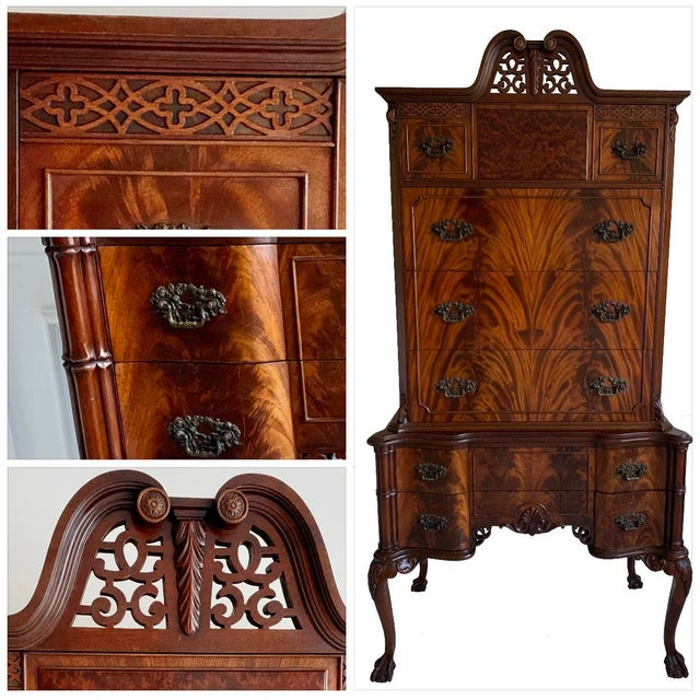 Burnt Umber Antique Ca 1900's Georgian Chippendale English Style Mahogany Claw Feet Highboy Dresser For Sale - Image 8 of 13
