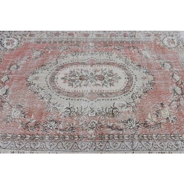 Nomadic Antique Handmade Muted Anatolian Faded Salmon Carpet - 6′9″ × 9′2″ - Image 5 of 10