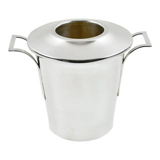French Art Deco Silver Plate Champagne Ice Bucket Wine Cooler For Sale