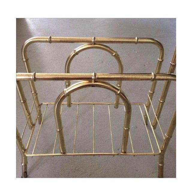 Vintage Brass Bamboo Magazine Holder For Sale - Image 4 of 5