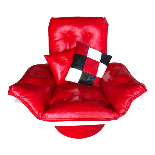 Mid Century Modern Space Age Red Leather Swivel Lounge Chair Molded Plastic Decorion Futorian Italian Style Vintage MCM For Sale