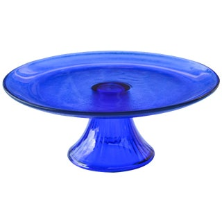 Midcentury Cobalt Blue Glass Tray For Sale