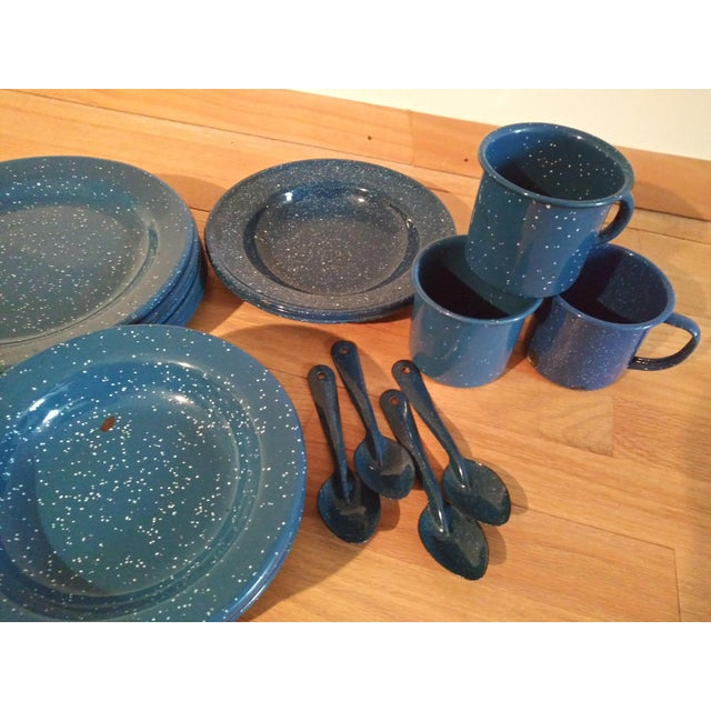 American Vintage Blue Granitewear Enamelware Dishes For Sale - Image 3 of 5