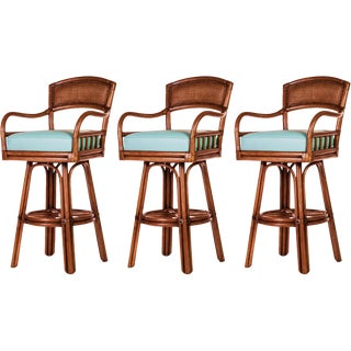 David Francis Rattan and Cane Back Barstools - Set of 3 For Sale