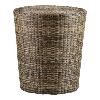 Woven Fiber Patio Stool / Side Table For Sale