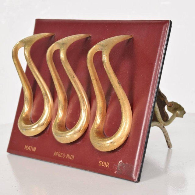 1960s Mid-Century Leather and Brass Pipe Holder, France, 1960s For Sale - Image 5 of 6