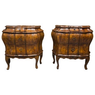 19th Century Pair of Italian Rococo Style Walnut Commodes For Sale