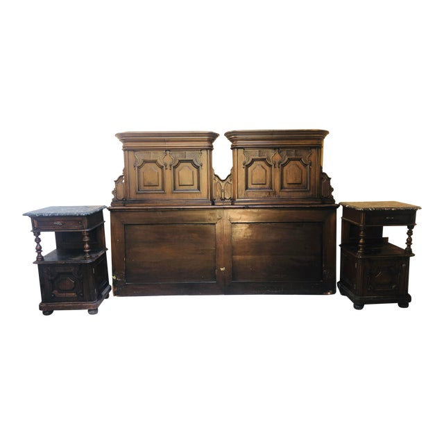 19th Century Jacobean Carved Head Board for King Size Bed With Night Stands - 3 Pieces For Sale