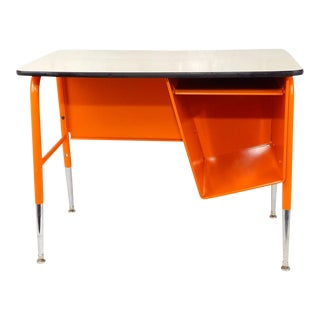 Mid-Century Modern Metal Orange Tanker Desk