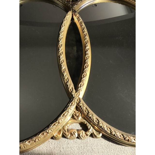 1970s Hollywood Regency Double Interlocking Gilt Mirror For Sale - Image 4 of 6