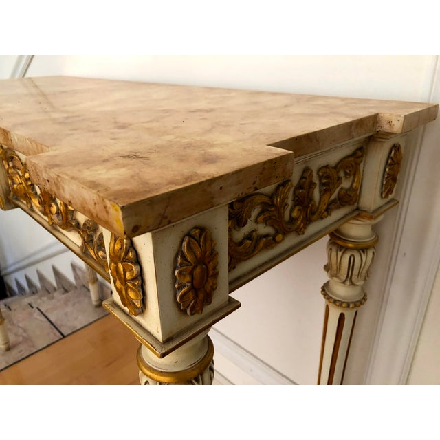 Gold 20th Century Vintage Karges Louis XVI Style Console Entry Table For Sale - Image 8 of 12
