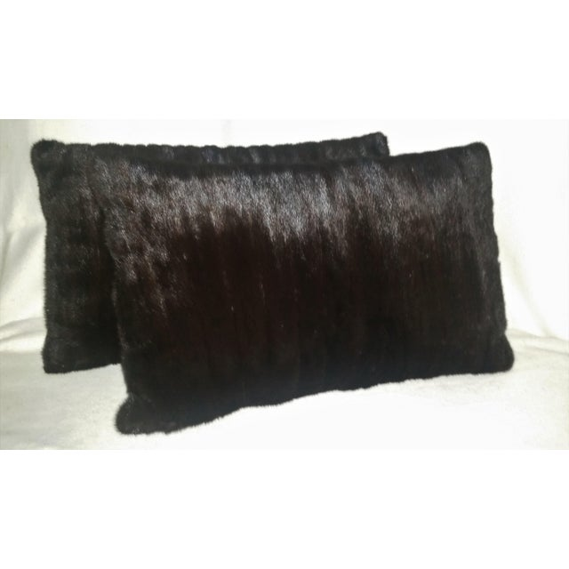 Fur Contemporary Dark Brown Almost Black Mink Pillows - a Pair For Sale - Image 7 of 7