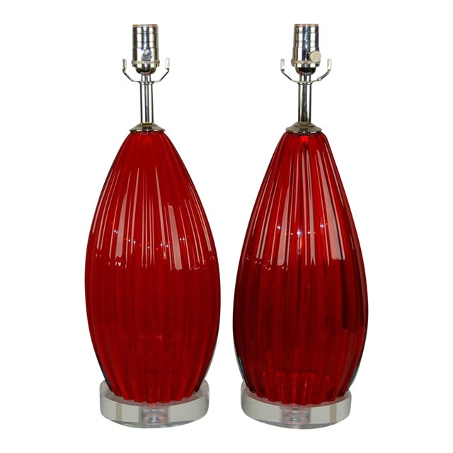 Vintage Murano Glass Table Lamps Scarlet Red For Sale