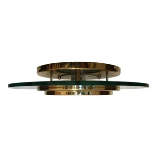 Mid-Century Modern Brass/Glass Pendant For Sale