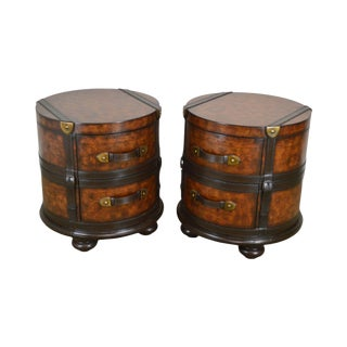 Hooker Seven Seas Collection Round Cylinder Pair 2 Drawer End Tables For Sale