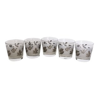Libby Silver Leaf Mid-Century Rocks Glasses - Set of 5