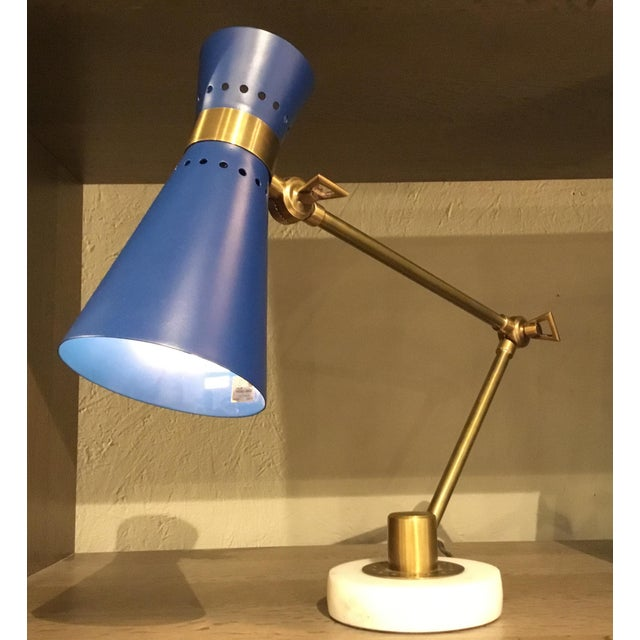 Modern Bungalow 5 Modern Blue and Brass Clipper Table Lamp For Sale - Image 3 of 4