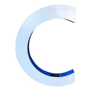 "Large Vintage Blue & White Enamel ""C"" Building Signage For Sale"