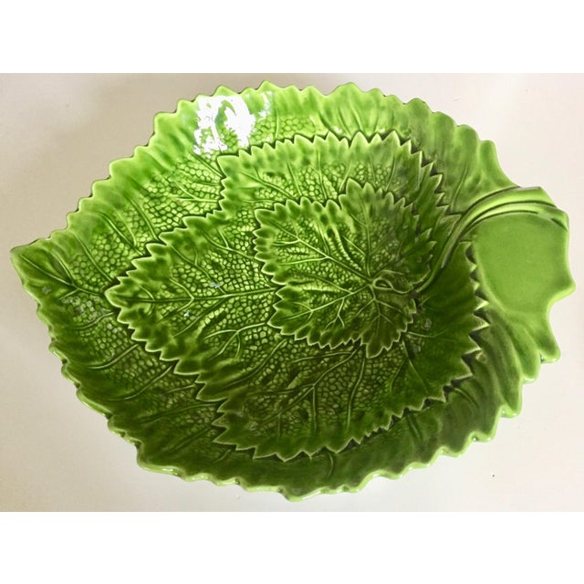 1970s Italian Green Majolica Leaf Bowls-A Pair For Sale - Image 5 of 13