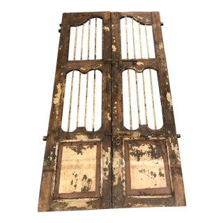 Late 19th C. Mediterranean Distressed Wood Gates - a Pair