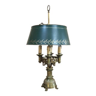 Antique French Art Deco Period Bronze Bouillote Lamp With Shade For Sale