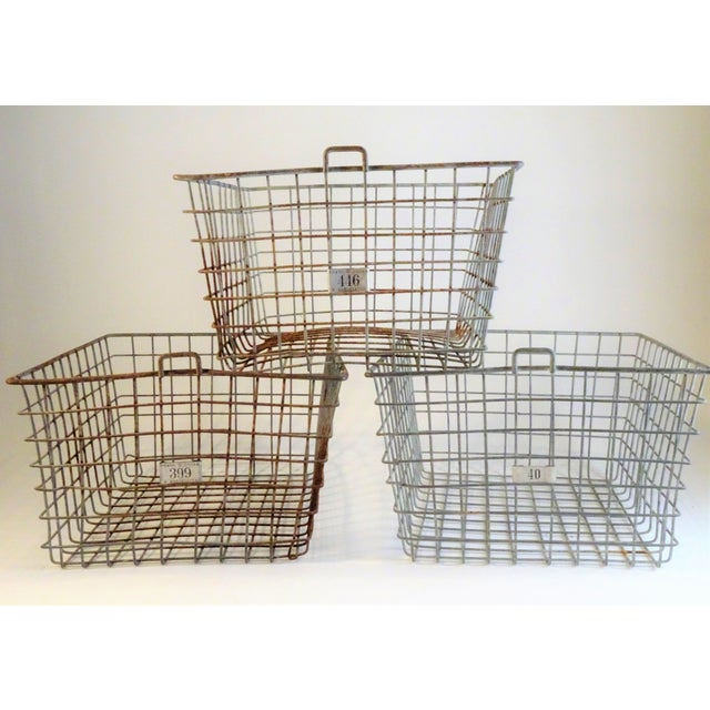 Country Vintage Wire Locker Baskets - Set of 3 For Sale - Image 3 of 11