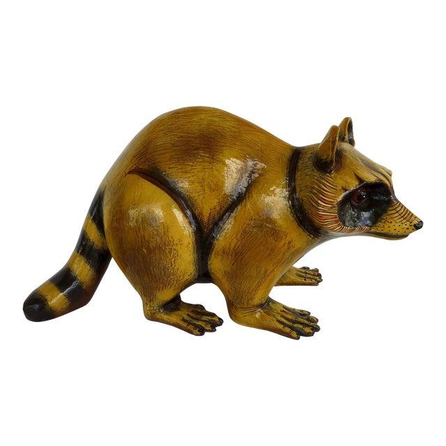 Papier Mache Raccoon Sculpture by Sergio Bustamante For Sale