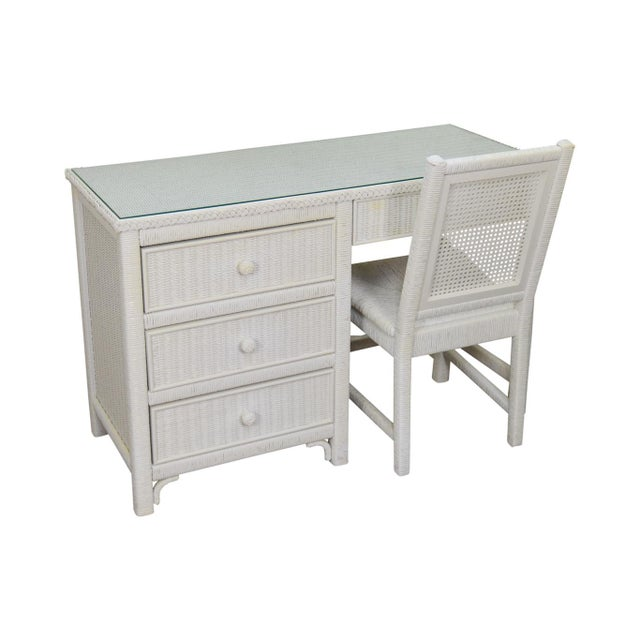 Henry Link Vintage White Wicker Desk Or Dressing Vanity Table With Chair For Image