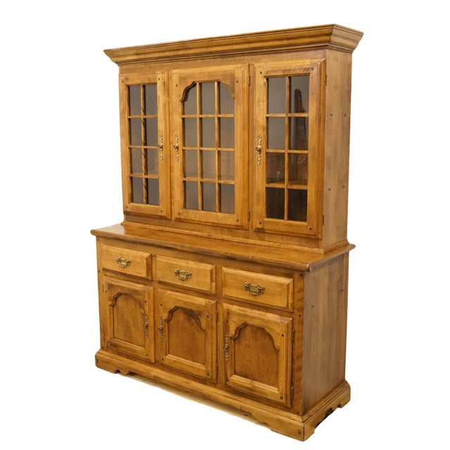 "Temple Stuart Rockingham solid maple colonial style 57"" buffet with display hutch. We specialize in high end used..."