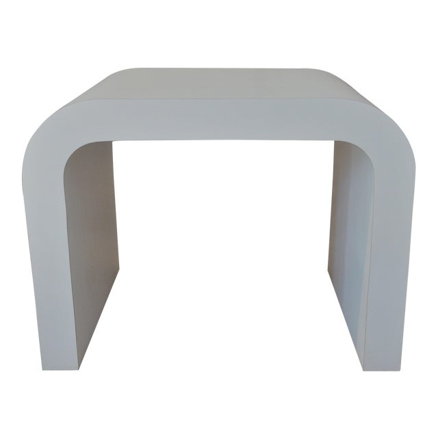 White Laminate Waterfall Table For Sale
